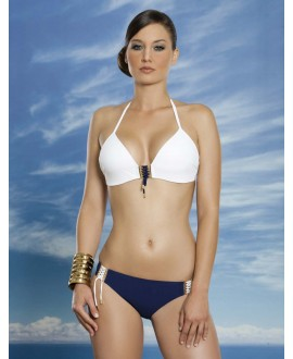 Bikini with 3D plastic wired halter bra with braided middle
